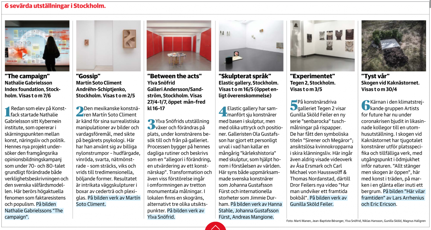 Nathalie Gabrielsson's The Campaign: featured in Dagens nyheters' exhibitions to see in Stockholm